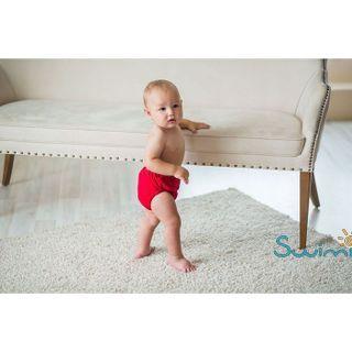 Для мальчика. Ласты детские грудничковые Propercarry Super Elastic, размер - 23-24, цвет - фиолетовый, 100% натуральный каучук + Многоразовые красные трусики-подгузники, рис. 8 - Swimi - интернет магазин
