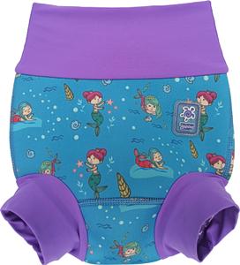 Детский многоразовый подгузник Propercarry неопреновый, 1-1,5 года, размер - L, 74-80 см, вес ребенка - от 10 до 12 кг, принт - Русалки на голубом - артикул: SN1903-001L + Ласты детские грудничковые Propercarry, рис. 1 - Swimi - интернет магазин