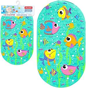 Нескользящий коврик в ванную VALIANT на присосках детский, бирюзовый, АКВАРИУМ, ПВХ + Герметичный непромокаемый чехол для телефона, рис. 1 - Swimi - интернет магазин